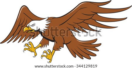 Illustration of an american bald eagle swooping flying viewed from the side set on isolated white background done in cartoon style.  - stock photo