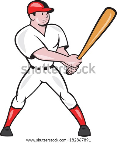 Illustration of an american baseball player batter hitter batting with bat done in cartoon style isolated on white background.