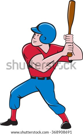 Illustration of an american baseball player batter hitter holding bat batting viewed from the side set on isolated white background done in cartoon style. - stock photo