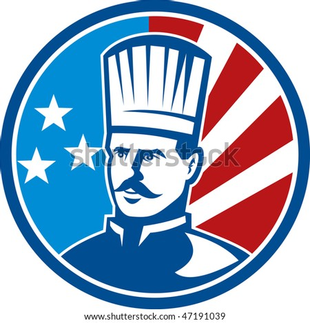 illustration of an American Chef cook baker with stars and stripes set inside a circle