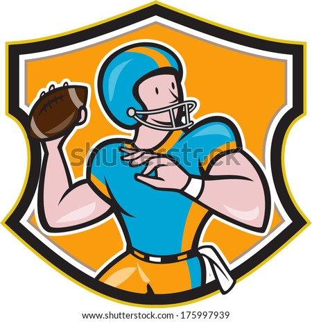 Illustration of an american football gridiron quarterback player throwing ball facing side set inside crest shield in background done in cartoon style.