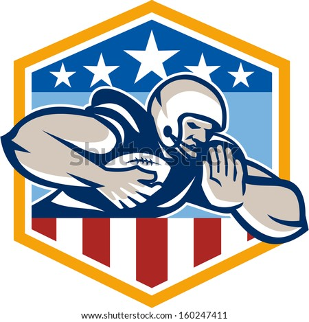 Illustration of an american football gridiron running back player running with ball facing front fending off with arm set inside USA stars and stripes crest shield done in retro style.