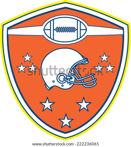 Illustration of an american football helmet viewed from the side with ball and stars set inside shield crest on isolated background done in retro style.