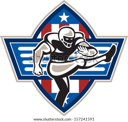 Illustration of an American football player placekicker kicking facing side done in retro style set inside stars and stripes ball .