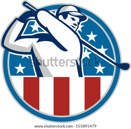 Illustration of an American golfer playing golf swinging club set inside circle with USA stars and stripes flag on isolated background. - stock photo