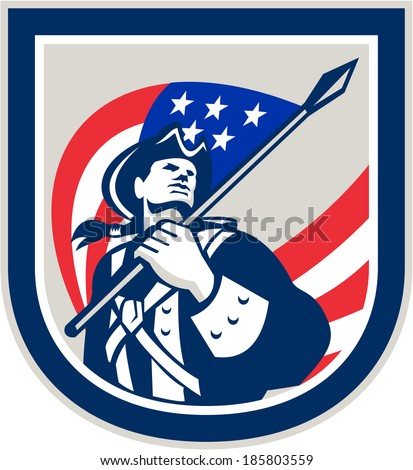 Illustration of an American Patriot holding a USA stars and stripes flag looking up set inside crest shield on isolated white background.