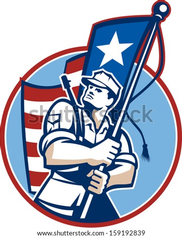 Illustration of an American patriot solider military serviceman looking up holding a USA stars and stripes flag in background set inside circle.
