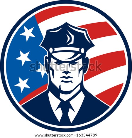 Illustration of an American policeman security guard police officer facing front set inside circle with USA stars and stars flag done in retro style.