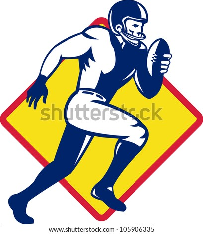 Illustration of an american quarterback football player running with ball set inside diamond shape done in retro style.