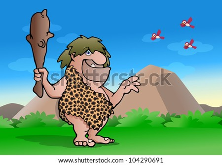illustration of an ancient cave man hold wood club on nature background - stock photo