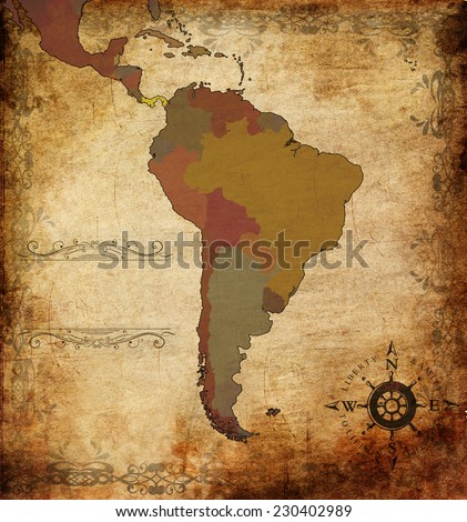 illustration of an ancient map of South America - stock photo