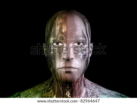 Illustration of an Android head against a black background