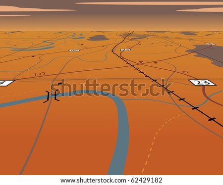 Illustration of an angled generic roadmap without names - stock photo