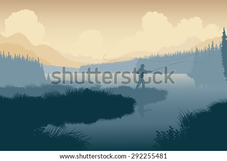 Illustration of an angler in a wild landscape - stock photo
