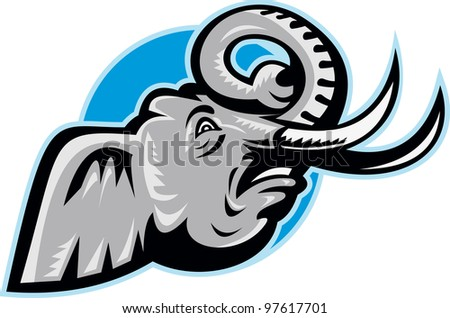 Illustration of an angry African elephant head with big tusk set inside circle done in retro style. - stock photo