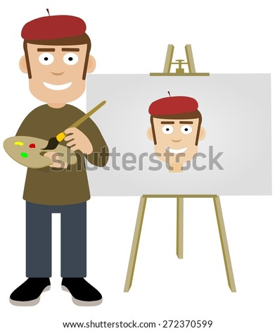 Illustration of an artist painting a self portrait - stock photo