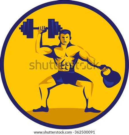 Illustration of an athlete weightlifter lifting kettlebell with one hand and dumbbell on the other hand facing front set inside circle on isolated background done in retro style. - stock photo