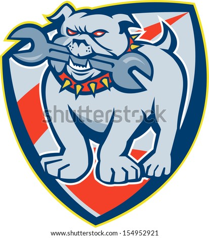 Illustration of an bulldog dog mongrel mascot biting a spanner wrench tool facing front set inside crest shield on white background done in retro style.