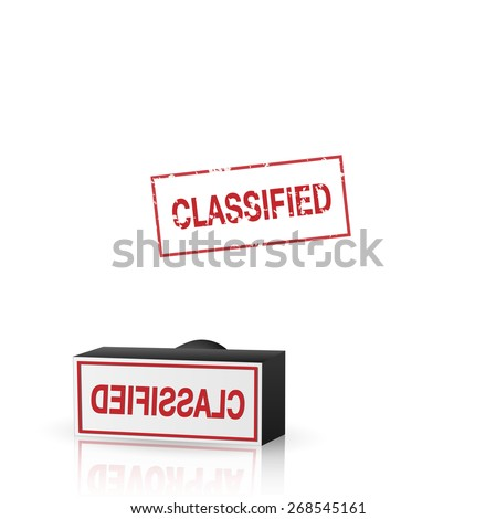Illustration of an classified stamp isolated on a white background. - stock photo