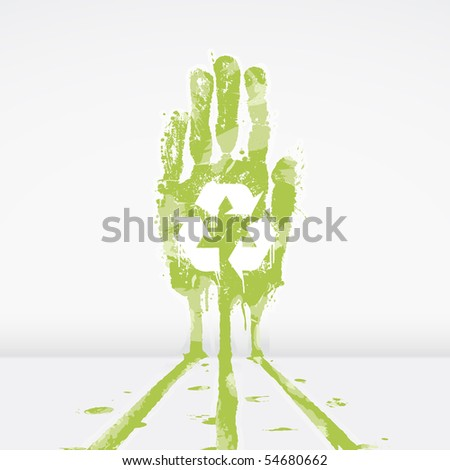 Illustration of an ecological concept with a hand splatter leaking dye down a wall. Recycling symbol in the middle. - stock photo
