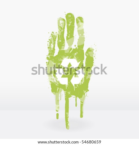 Illustration of an ecological concept with a hand splatter with paint drops. Recycling symbol on the palm. - stock photo