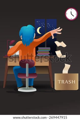 illustration of an editor choose good script working late at office - stock photo