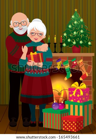 Illustration of an elderly couple in the living room on the eve of Christmas/An elderly couple in the fireplace Christmas/Grandma and Grandpa celebrating Christmas - stock photo