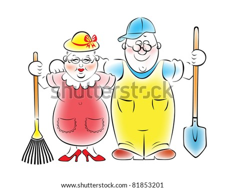 Illustration of an elderly couple who love to garden and vegetable garden.Raster version. - stock photo