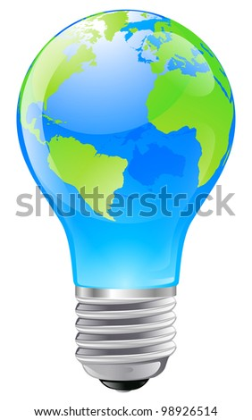 Illustration of an electric light bulb with a world globe. Conceptual illustration