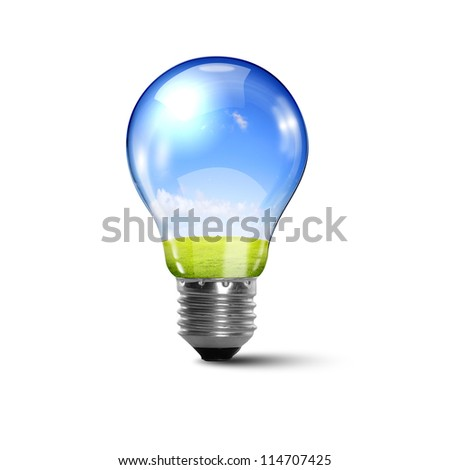 Illustration of an electric light bulb with clean and safe nature inside it Conceptual illustration