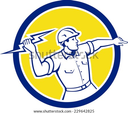 Illustration of an electrician construction worker holding a lightning bolt throwing viewed from the side set inside circle done in retro style on isolated background. - stock photo