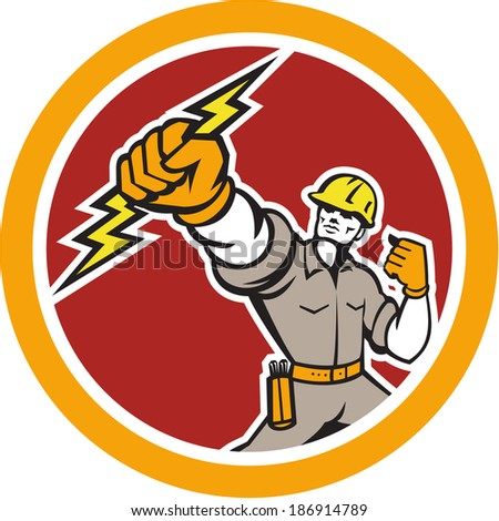 Illustration of an electrician construction worker power lineman wielding holding a lightning bolt set inside circle done in retro style on isolated white background. - stock photo