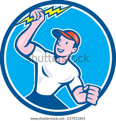 Illustration of an electrician construction worker standing holding a lightning bolt looking to the side set inside circle done in cartoon style on isolated background. - stock photo