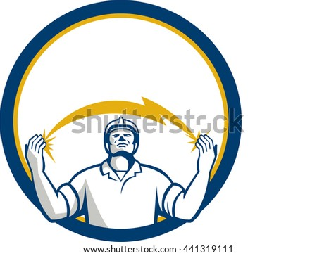 Illustration of an electrician looking up and hands raised with lightning bolt struck in both hands viewed from the front set inside circle done in retro style.  - stock photo