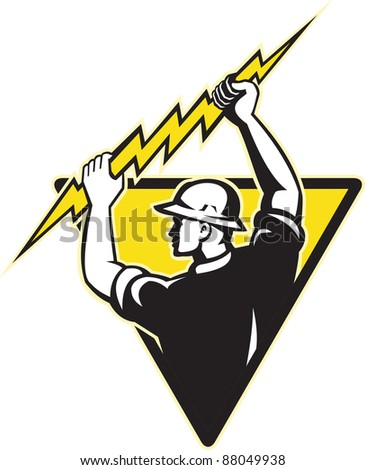 illustration of an electrician power lineman holding electric lighting bolt set inside triangle on isolated background done in retro style..