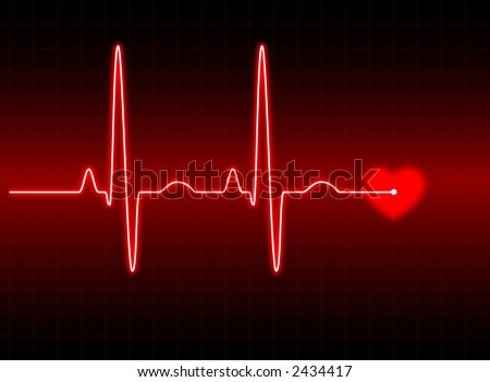 Illustration of an electrocardiogram (ECG) #2.  See my portfolio for more. - stock photo