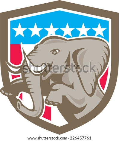 Illustration of an elephant prancing looking to the side set inside shield crest with stars and strips in the background done in retry style.