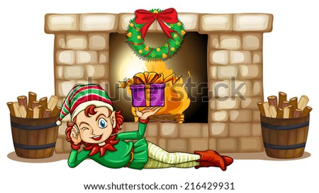 Illustration of an elf in front of the fireplace on a white background - stock photo