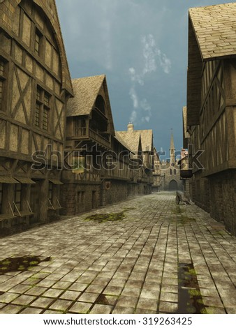 Illustration of an empty deserted street Scene set in a European town during the Middle Ages or Medieval period, 3d digitally rendered illustration