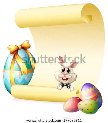 Illustration of an empty paper template with a bunny and Easter eggs on a white background - stock photo