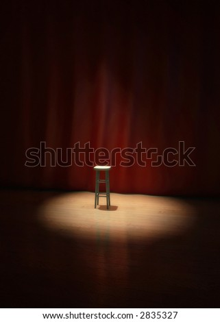 Illustration of an empty stool on a stage of a theater, concert or comedy show lighted by a single spotlight in front of a red curtain. - stock photo