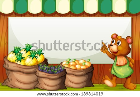 Illustration of an empty template with a bear selling fruits - stock photo