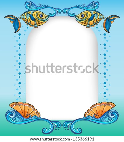 Illustration of an empty template with the sea creatures - stock photo