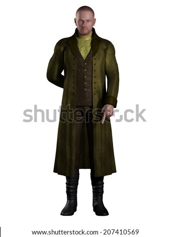 Illustration of an English Regency period gentleman dressed in a suit and long green coat, 3d digitally rendered illustration - stock photo