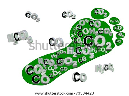 Illustration of an expression, carbon footprint. Footprint is filled with carbon compounds / Carbon footprint - stock photo