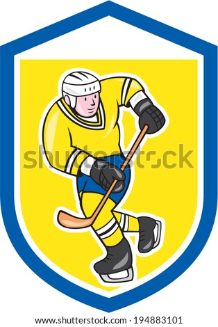 Illustration of an ice hockey player with hockey stick set inside shield crest done in cartoon style.