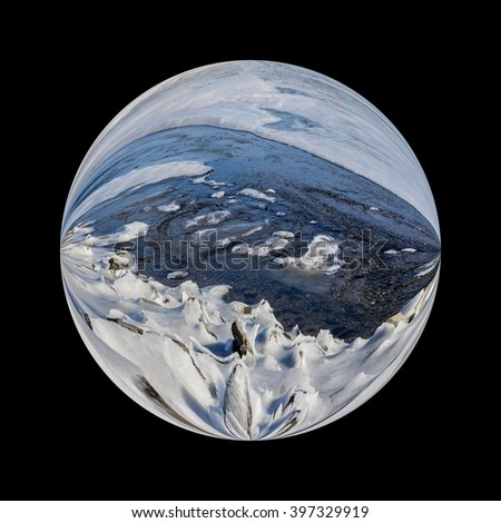 Illustration of an icy planet covered with ice and snow in deep space