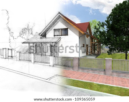 Illustration of an idea and implementation of house - stock photo