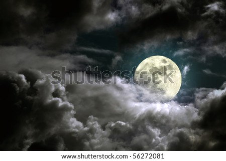 Illustration of an interesting full moon in a cloudy night