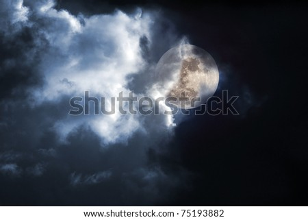 Illustration of an interesting full moon in a cloudy night - stock photo